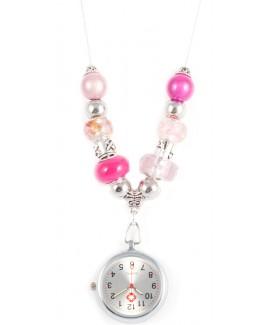 Halskette Uhr Perle Rosa